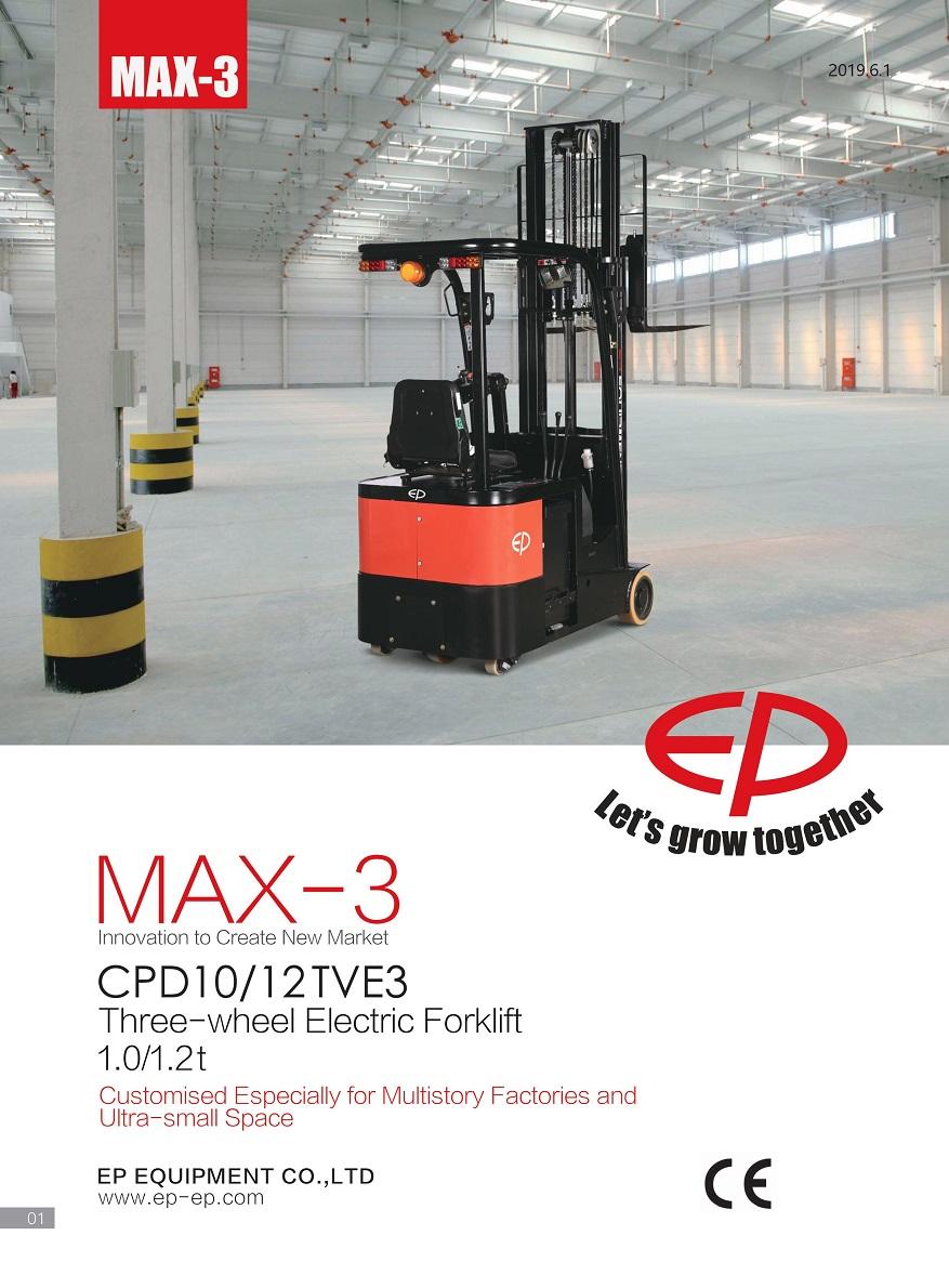 Xe nâng điện 3 bánh ngồi lái tải trọng nâng 1 tấn, 1,2 tấn Model CPD10TVE3, CPD12TVE3
